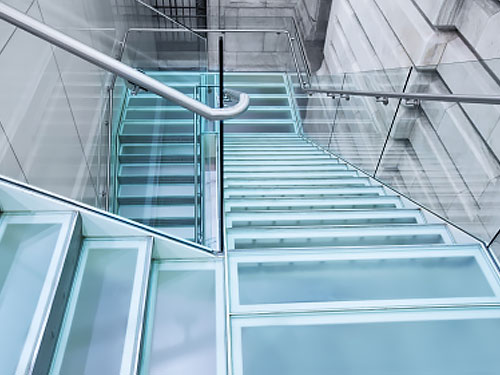 Commercial glass rails railing systems